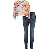 Girls cream floral sweat and jean set