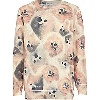 Girls brown pomerianian dog print sweatshirt