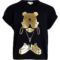 Girls black and gold graffiti girl t-shirt