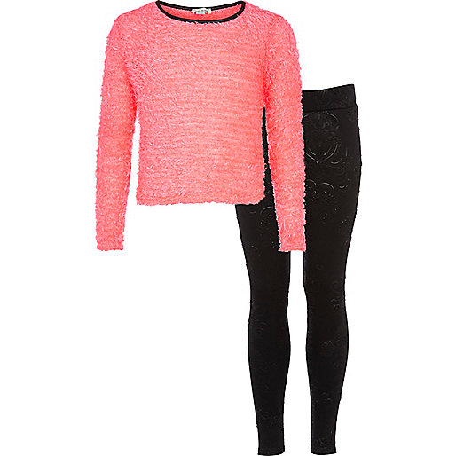Girls coral eyelash top and leggings set