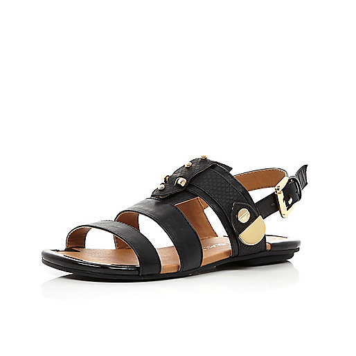 Girls black bolt sandals