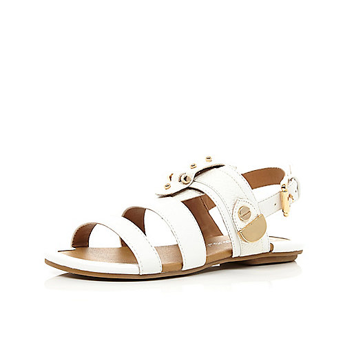 Girls white bolt sandals