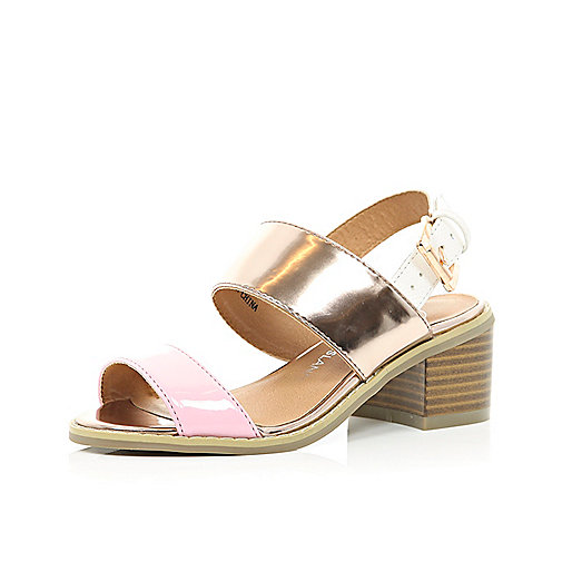 Girls pink colour block chunky heel sandals