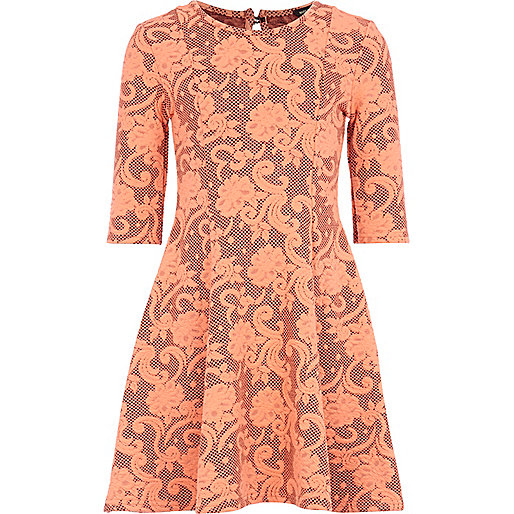 Girls coral jacquard floral dress