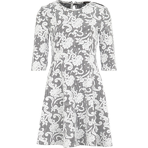 Girls black jacquard floral dress
