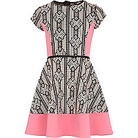 Girls pink aztec panelled skater dress