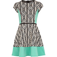 Girls green aztec panelled skater dress
