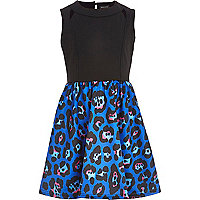Girls blue leopard caged 2 in 1 dress