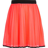 Girls pink dolly pleated contrast skirt