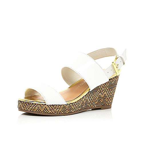 Girls white sling back wedge sandals