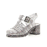 Girls black glitter jelly heel sandals