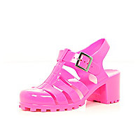 Girls pink jelly heel sandals