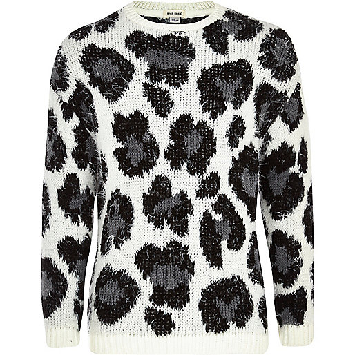 Girls grey chubby leopard print jumper