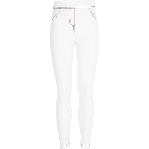 Girls white denim look leggings