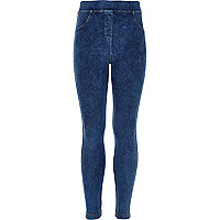 Girls blue acid wash denim look leggings