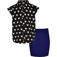 Girls black heart print shirt and skirt set