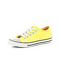 Girls yellow glitter toe plimsolls trainer