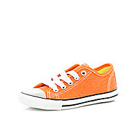 Girls orange glitter toe plimsolls trainers