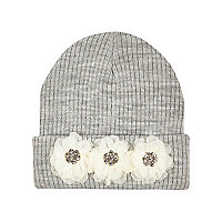 Girls grey chiffon flower beanie