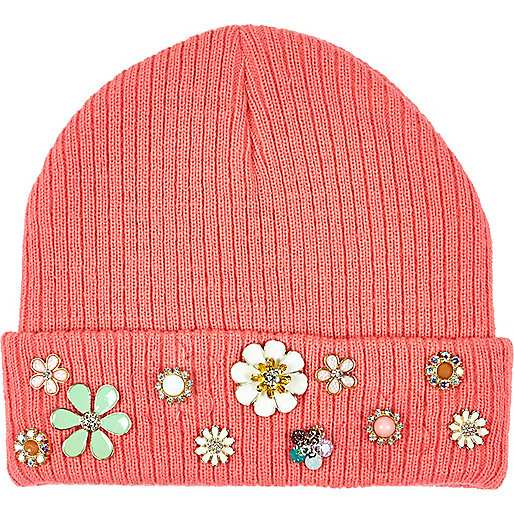 Girls coral flower beanie