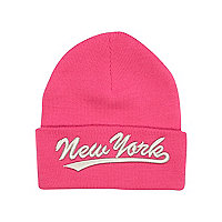 Girls bright pink New York beanie hat