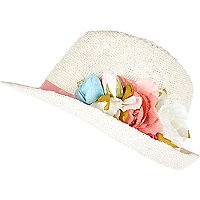 Girls white floral garland trilby