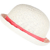 Girls white bowler hat