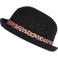 Girls black bowler hat with leopard band