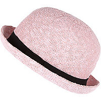 Girls pink bowler hat