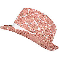 Girls pink straw sequin trilby hat