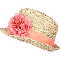 Girls straw sequin flower trilby hat