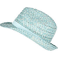 Girls blue sequin straw trilby hat