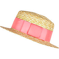 Girls pink trim straw boater hat