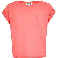 Girls pink rolled sleeve t-shirt