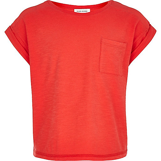 Girls coral rolled sleeve t-shirt