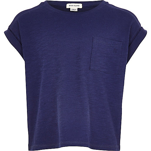 Girls navy rolled sleeve t-shirt
