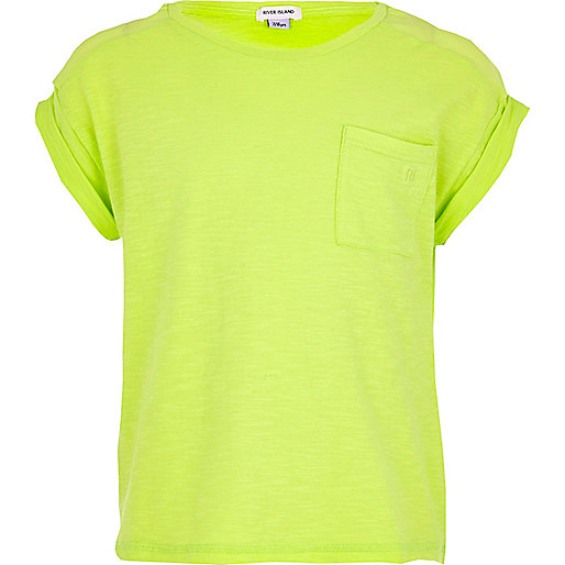Girls lime green rolled sleeve t-shirt