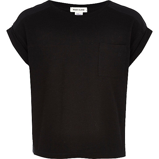 Girls black rolled sleeve t-shirt
