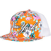 Girls orange floral NY diamante snapback hat