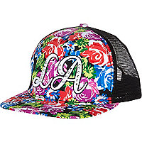 Girls black floral LA diamante snapback hat