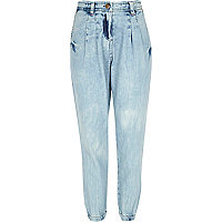 Girls blue peg leg denim trousers