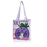 Girls purple Little Miss Naughty shopper bag
