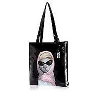 Girls black Pets Rock diva cat shopper bag