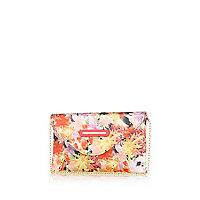Girls orange floral clutch bag