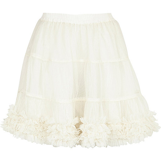 Girls cream 3D flower trim tutu
