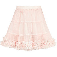 Girls pink 3D flower trim tutu