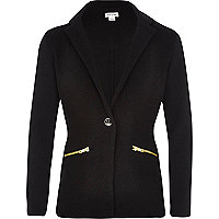 Girls black mix textured blazer