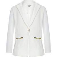 Girls cream mix textured blazer