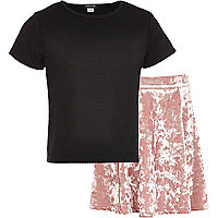 Girls black crop t-shirt and velvet skirt