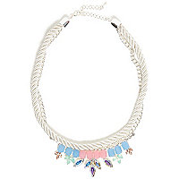 Girls white pastel gem rope necklace